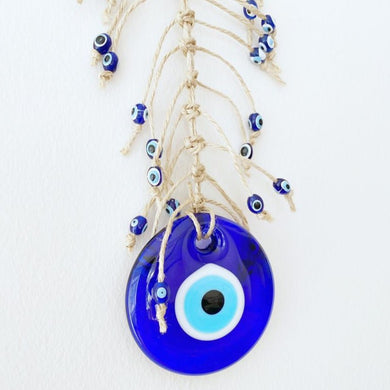 Evil eye wall hanging, macrame wall decor, blue evil eye