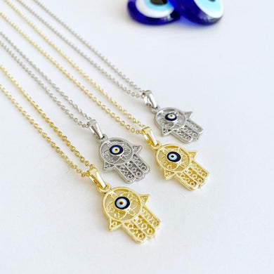 Hamsa Evil Eye Necklace, Gold Silver Hamsa Necklace, Lucky Necklace