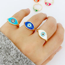 Colorful Evil Eye Ring, Gold Ring, Adjustable Ring, SET Ring