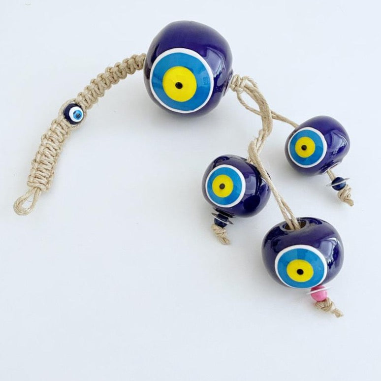 Ceramic Ball Wall Hanging, Elegant Evil Eye Wall Hanging, Turkish Evil Eye - Evileyefavor