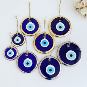 Evil Eye Beads, 7cm to 13cm, Gold Silver Evil Eye, Blue Glass Evil Eye Decor - Evileyefavor