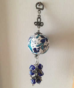 Ceramic ball wall decal with evil eye beads - Evileyefavor