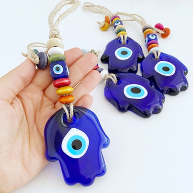 Blue Evil Eye Wall Hanging, Glass Hamsa Wall Hanging