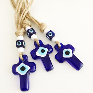 Cross Evil Eye Wall Hanging, Evil Eye Home Decor, Religious Wall Hanging