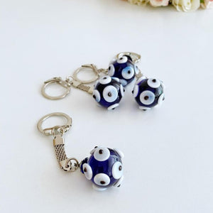 Glass Evil Eye Keychain, Silver Keychain, Lucky Glass Evil Eye Keychain