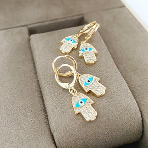 Hamsa Evil Eye Earrings, Gold Hoop Earrings, Hamsa Hand Charm, Hamsa Jewelry