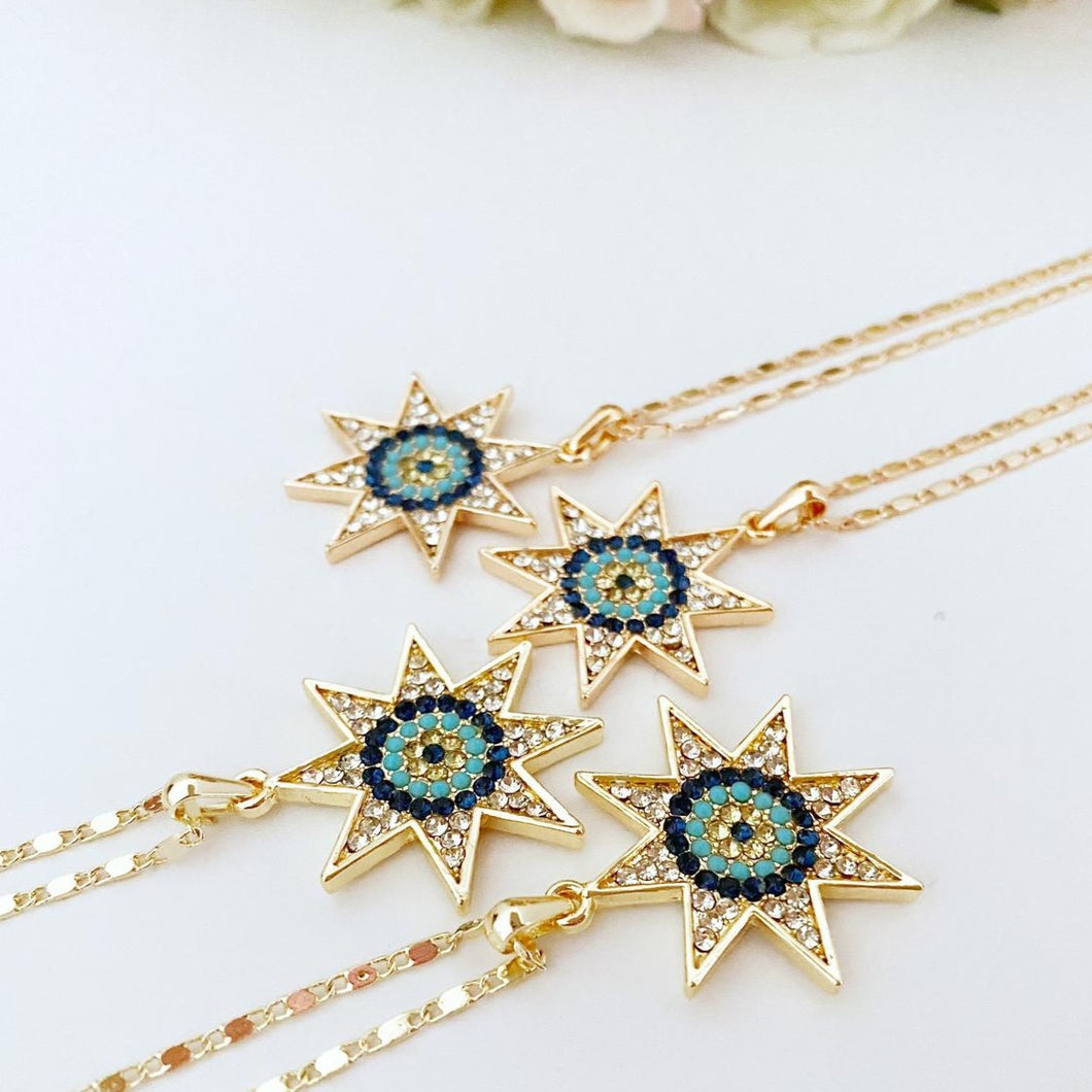 Evil Eye Necklace, North Star Evil Eye Necklace, Zirconia Necklace