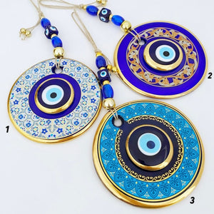 Gold Evil Eye Wall Hanging, Handmade Evil Eye Home Decor, Evil Eye New Home Gift