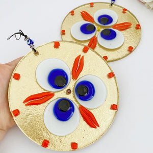 Gold Evil Eye Wall Hanging, Handmade Evil Eye Bead, Fused Glass Wall Hanging