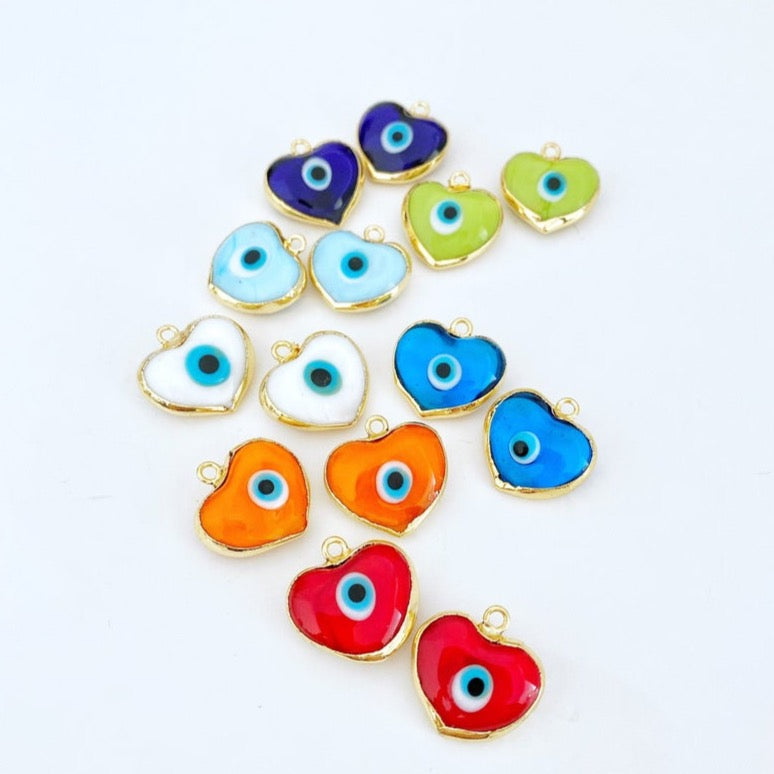 Murano Evil Eye Beads, Glass Heart Beads, Heart Evil Eye Pendant, Handmade Murano Bead
