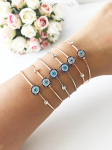 Bangle Evil Eye Bracelet, Gold Rose Silver Bracelet, Zircon Bracelet