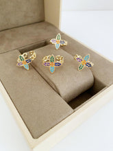 Gold Daisy Ring, Clover Ring, Rainbow Zircon Ring