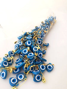 Evil Eye Safety Pin 100, Unique Wedding Favors, Resin Evil Eye Bead - Evileyefavor