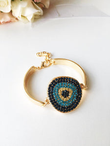 Evil Eye Bracelet, Gold Chain Bracelet, Evil Eye Zircon Charm, Greek Jewelry - Evileyefavor