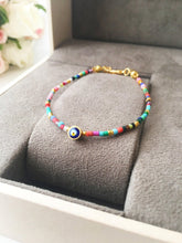 Rainbow Evil Eye Bracelet, Seed Beads Bracelet, Greek Evil Eye Jewelry - Evileyefavor