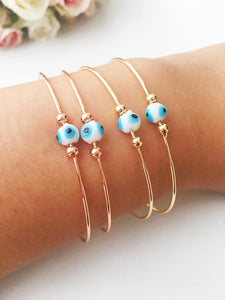 Minimalist Evil Eye Bracelet, Rose Gold Bangle Bracelet - Evileyefavor