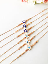 Evil Eye Star Bracelet, Rose Gold Bead Chain Bracelet - Evileyefavor