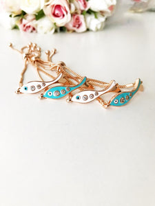 Fish Evil Eye Bracelet, Adjustable Rose Gold Bracelet, Lucky Evil Eye Charm - Evileyefavor