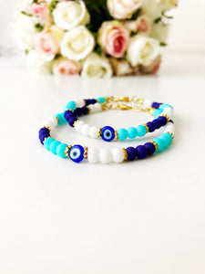 Summer Jewelry, Evil Eye Bracelet, Seed Beads Bracelet, Greek Jewelry - Evileyefavor