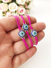 Evil Eye Bracelet, Pink String Bracelet, Adjustable Thread Bracelet - Evileyefavor