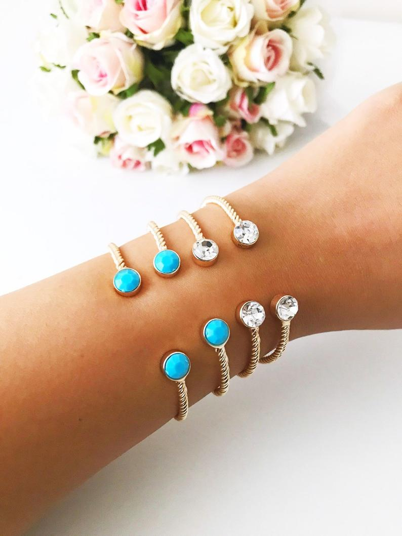 Gold Bangle Bracelet, Cuff Bracelet, Turquoise Bead Bangle, Crystal Bead Bangle - Evileyefavor