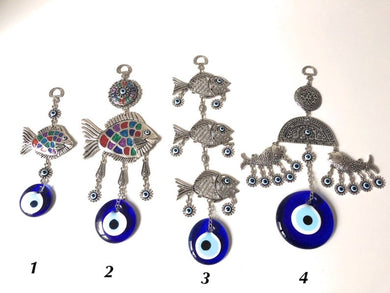 Fish wall hanging with evil eye beads - Evileyefavor