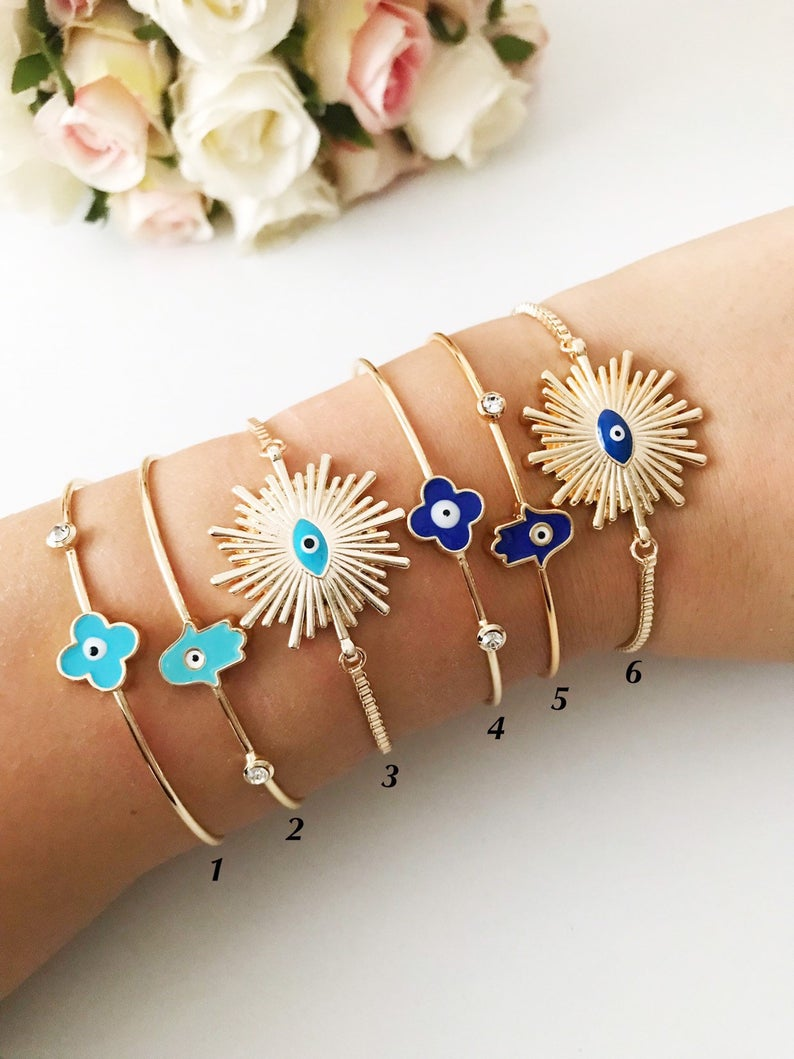 Evil Eye Bangle Bracelet, Hamsa Bangle Bracelet, Evil Eye Jewelry Set - Evileyefavor