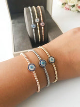 Adjustable Evil Eye Bracelet, Rose Gold Silver Beaded Bracelet, Turkish Evil Eye - Evileyefavor