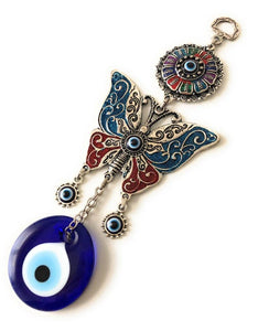 Butterfly wall hanging with evil eye beads - Evileyefavor