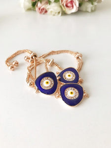 Blue Evil Eye Bracelet, Adjustable Rose Gold Bracelet, Greek Jewelry - Evileyefavor