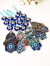 hamsa mosaic wall hanging with evil eye beads - Evileyefavor