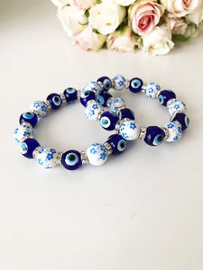 Glass Evil Eye Bracelet, Ceramic Bead Bracelet, Stretchable Bracelet - Evileyefavor