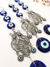 Evil eye wall hanging with metal owl decoration - Evileyefavor