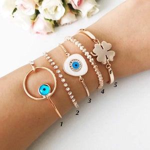 Bangle Evil Eye Bracelet, Rose Gold Bracelet, Greek Evil Eye Bead - Evileyefavor