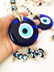 Blue evil eye macrame home decor - Evileyefavor