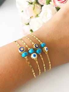 Gold Chain Bracelet, Evil Eye Bead, Blue White Evil Eye Bead, Greek Jewelry - Evileyefavor