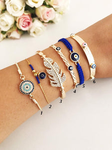 Greek Evil Eye Bracelet Set, Gold Bangle Bracelet, Blue Evil Eye Charm - Evileyefavor