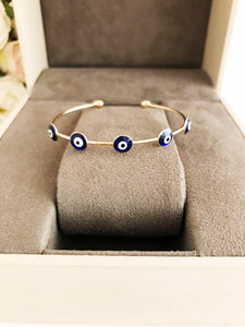 Evil Eye Bangle Bracelet, Gold Cuff Bracelet, Blue White Turquoise Evil Eye - Evileyefavor
