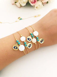 Gold Chain Evil Eye Bracelet, Mother of Peal Charm Bracelet, Dainty Bracelet - Evileyefavor