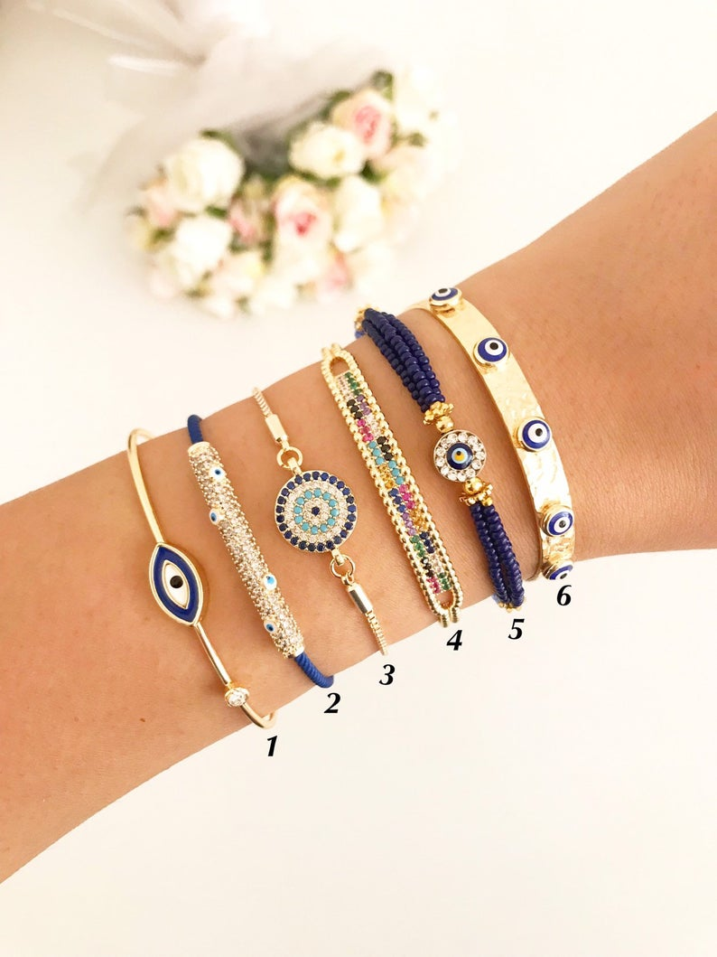 Blue Evil Eye Bracelet Set, Greek Bangle Bracelet, Seed Beads Bracelet - Evileyefavor