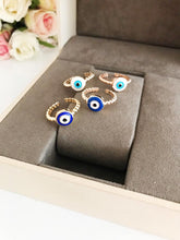 Evil Eye Ring, Minimalist Ring, Adjustable Ring, Blue Evil Eye Jewelry