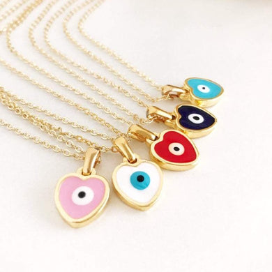Heart Evil Eye Necklace, Gold Enamel Necklace, Evil Eye Jewelry - Evileyefavor