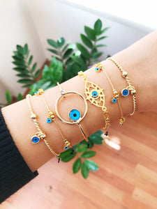 Gold Evil Eye Bracelet, Bangle Bracelet, Evil Eye Chain Bracelet, Turkish Evil Eye - Evileyefavor