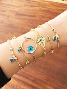Gold Evil Eye Bracelet, Evil Eye Bangle Bracelet, Blue Evil Eye Bead - Evileyefavor
