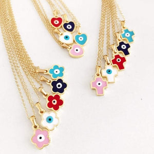 Evil Eye Necklace, Gold Enamel Necklace, Flower Heart Cross Necklace - Evileyefavor