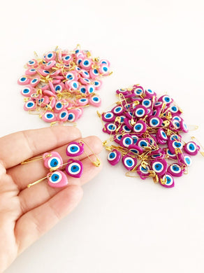Evil Eye Safety Pin, 100 pcs, Pink Baby Safety Pin, Plastic Baby Safety Pin Gift - Evileyefavor