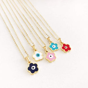 Evil Eye Clover Necklace, Gold Dainty Necklace, Evil Eye Jewelry - Evileyefavor