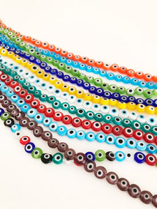 Evil Eye Beads, 6mm, BULK strand of 60 to 600 beads, Flat Round Beads - Evileyefavor