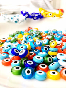 6mm to 12mm Evil Eye Glass Beads, Flat Evil Eye Beads, Evil Eye Jewelry Making