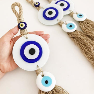 Evil Eye Home Decor, White Evil Eye Wall Hanging, Macrame Wall Hanging - Evileyefavor